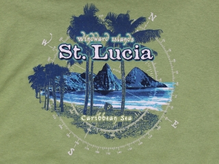 Saint Lucia Pitons and Palms T Shirt